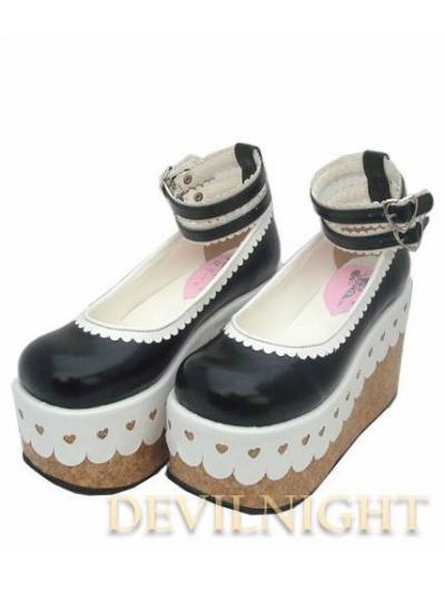Black Manga Style Platform Sweet Lolita Shoes