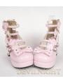 Nifty Pink/Black/White Cute Bow Belt Lolita High Heel Shoes