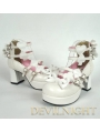 Nifty Pink/Black/White Cute Bow Belt Lolita High Heel Shoes