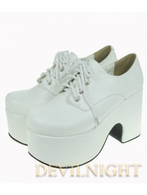 White Classic Simple Lolita Shoes with High Platform
