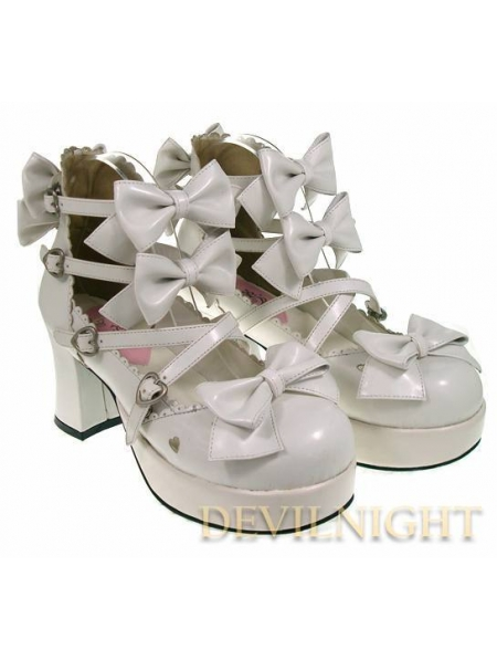 whitepinkblack bow belt sweet lolita shoes with high