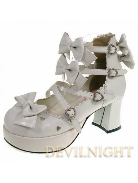 whitepinkblack bow belt sweet lolita shoes with high