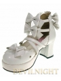 White/Pink/Black Bow Belt Sweet Lolita Shoes With High Heel