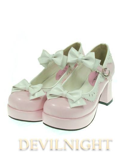 Dreamy Pink Lady Style Middle-Heeled Sweet Lolita Shoes With Cute Bows