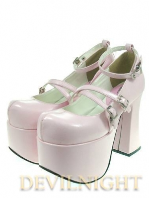 Red/Pink/Black Belt High Heel Sweet Lolita Shoes