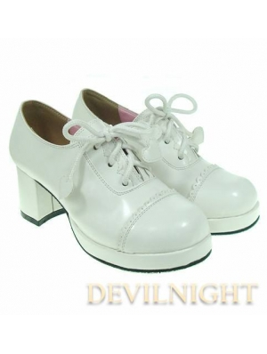 White/Black/Red Middle-Heeled Lace-up Classic Lolita Shoes