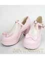 Pink/Black Sweet Lolita Shoes With Middle Platform and Crossed Belt