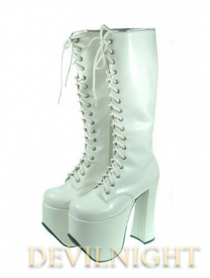 White/Black High Heel Gothic Lolita Boots With High Platforms