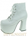 White/Black Chalaza Lacing Classic Lolita Ankle Boots With High Platform