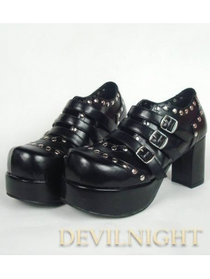 Black Punk Lolita Ankle High Heel Boots With Metal Buckle