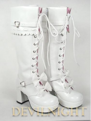 Dashing White/Red/Pink/Black Sweet Bow Lace-up High Heel Lolita Boots