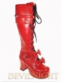 Dashing White/Red/Pink/Black Sweet Bow Lace-up High Heel Lolita Boots