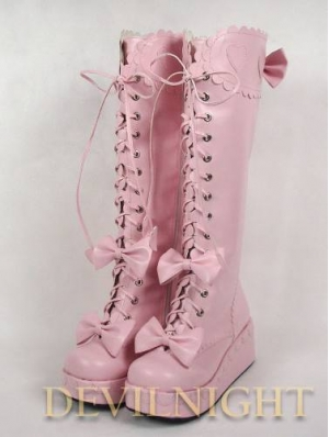 White/Black/Pink/Red Cute Bow Lac-up Sweet Lolita Platform Boots