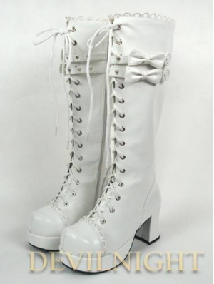 White/Pink/Black Lace-up High Heel Sweet Lolita Boots With Cute Little Bows