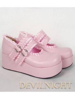 Pink/Black/Red Sweet Lolita Platform Shoes with Ribbons