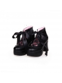 White/Black Classic Lolita High Heel Shoes with Ribbon Bow