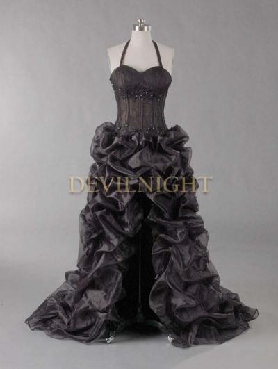 Black Halter Sexy High-Low Gothic Wedding Dress