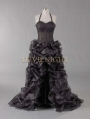Black Halter Sexy High-Low Gothic Wedding Dress