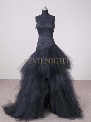 Black Strapless High-Low Gothic Wedding Dress