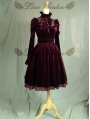 Wine Red Long Sleeves Gothic Victorian Style Lolita Dress