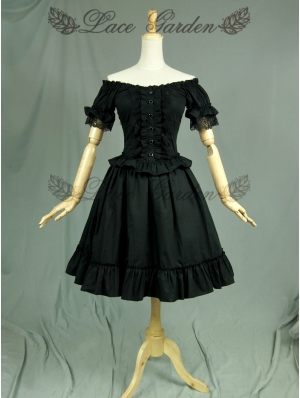 Black Off-the-Shoulder Short Sleeves Gothic Lolita Dress