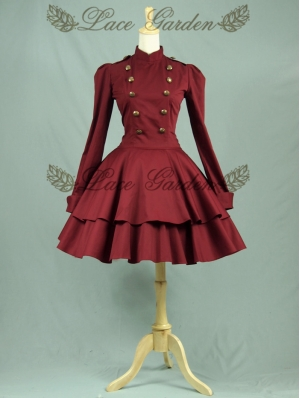 Red Long Sleeves Gothic Lolita Trench Coat Dress
