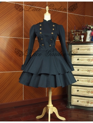 Black Long Sleeves Gothic Lolita Trench Coat Dress