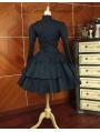 Black Long Sleeves Gothic Lolita Trench Coat Dress
