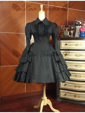 Black Long Sleeves Classic Gothic Lolita Dress