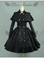 Black/White Long Sleeves Gothic Lolita Cape Coat Dress