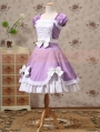 Purple and White Short Sleeves Bow Sweet Lolita Dress