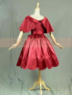 Red Vintage Victorian Style Classic Lolita Cape Dress