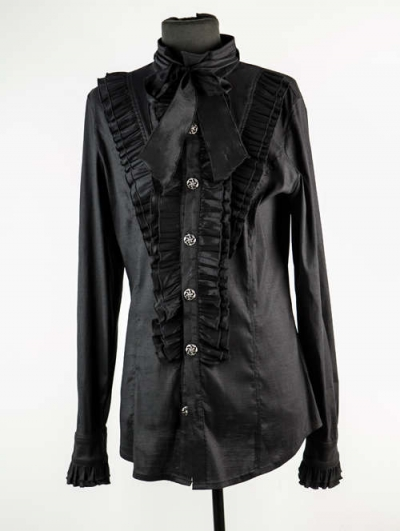 Black Long Sleeves Bowtie Gothic Blouse for Men