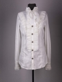 White Long Sleeves Bowtie Gothic Blouse for Men