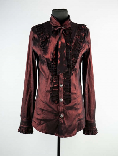 Wine Red Long Sleeves Bowtie Gothic Blouse for Men
