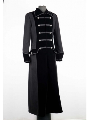 Black Long Double Breasted Gothic Coat for Men