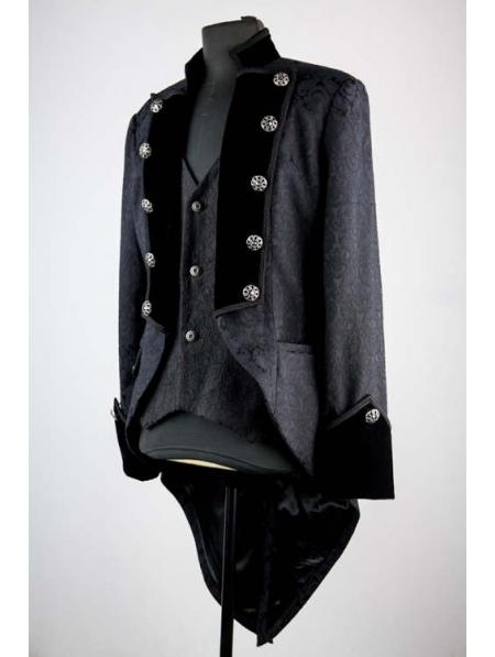 Black Pattern Double Breasted Tuxedo Style Gothic Jacket
