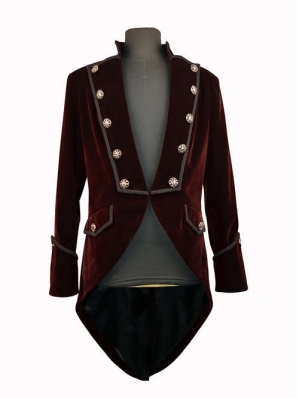 Wine Red Double Breasted Tuxedo Style Gothic Jacket for Men