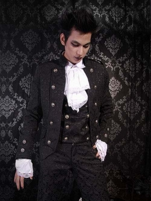 Black Pattern Short Gothic Jacket for Men
