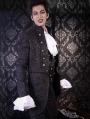 Black Pattern Gothic Trench Coat for Men