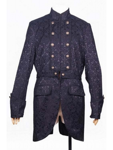 Black Pattern Gothic Trench Coat For Men Devilnight Co Uk