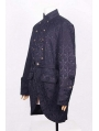 Black Pattern Gothic Trench Coat for Men