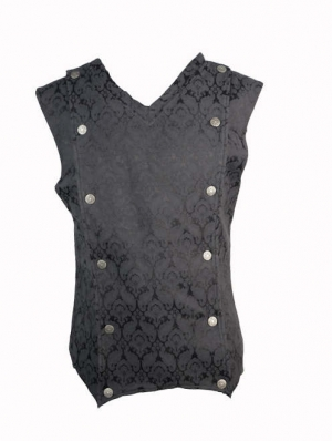 Black Pattern Gothic Vest for Men