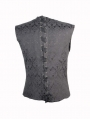 Black Pattern Gothic Vest for Men