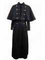 Black Gothic Detachable Shawl Mens Winter Coat