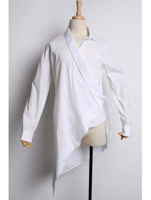 Alternative White Long Sleeves Gothic Blouse for Men