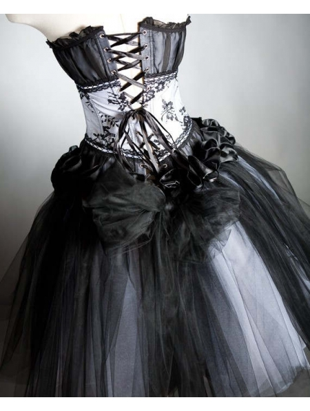 Black Gothic Corset Prom Dress - Devilnight.co.uk
