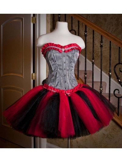 Red and Black Short Gothic Corset Dress
