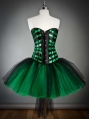 Green and Black Short Gothic Burlesque Corset Prom Dress