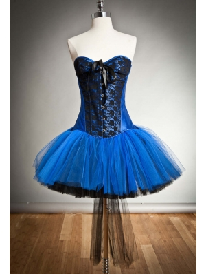 Blue and Black Gothic Burlesque Corset Short Dress